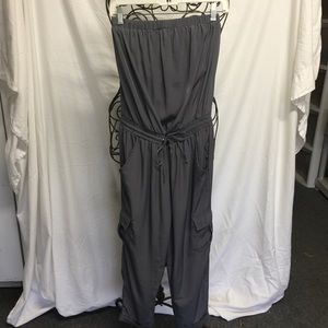 Strapless cargo style jumpsuit